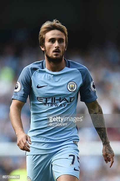 Manchester City's Spanish midfielder Aleix Garcia Serrano plays during the English Premier League football match between Manchester City and...