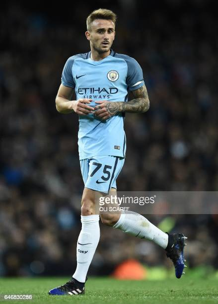 Manchester City's Spanish midfielder Aleix Garcia Serrano runs on the pitch during the FA Cup fifth round replay football match between Manchester...