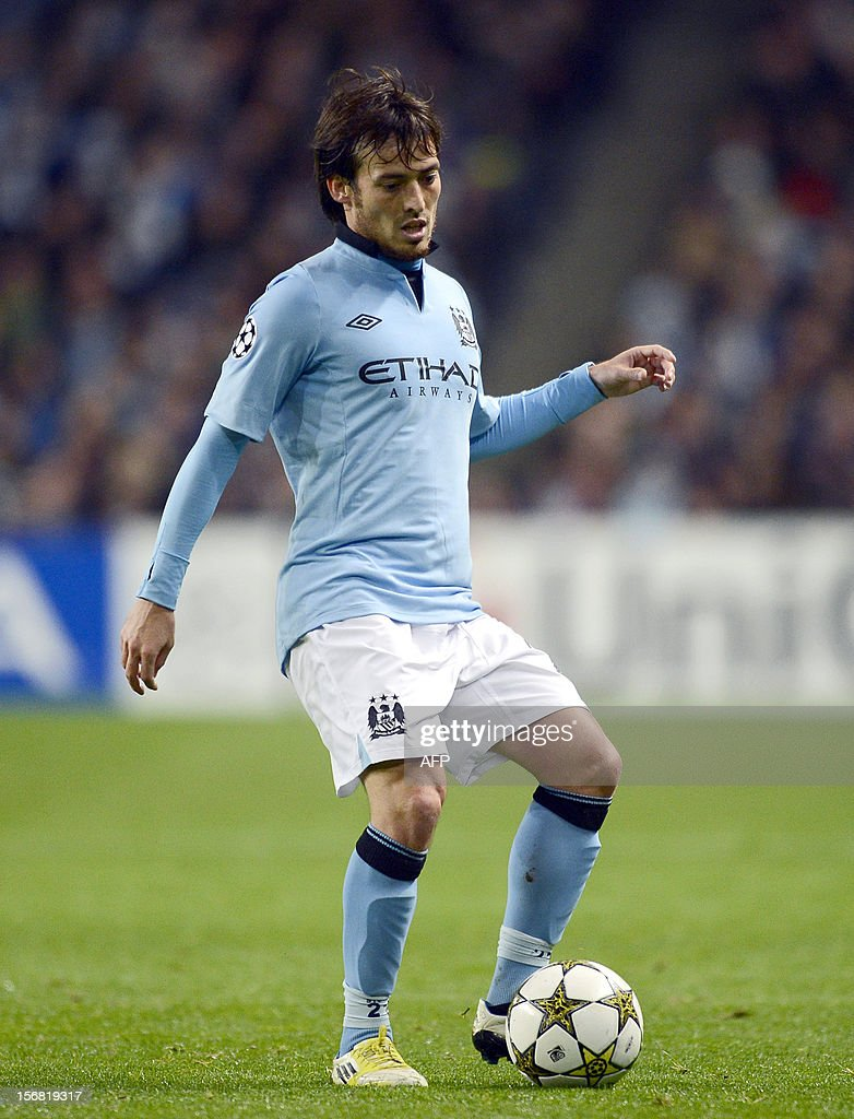 Manchester City's Spanish midfielder David Silva controls the ball during the UEFA Champions League Group D football match between Manchester City and Real Madrid at the Etihad Stadium in Manchester, North-west England, on November 21, 2012.