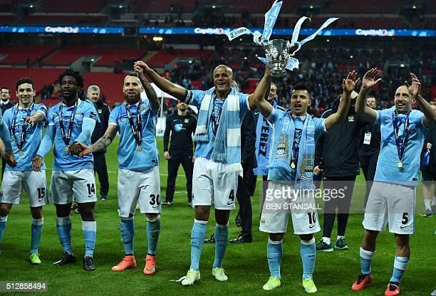 Manchester City's Spanish midfielder Jesus Navas Manchester City's Ivorian striker Wilfried Bony Manchester City's Argentinian defender Nicolas...