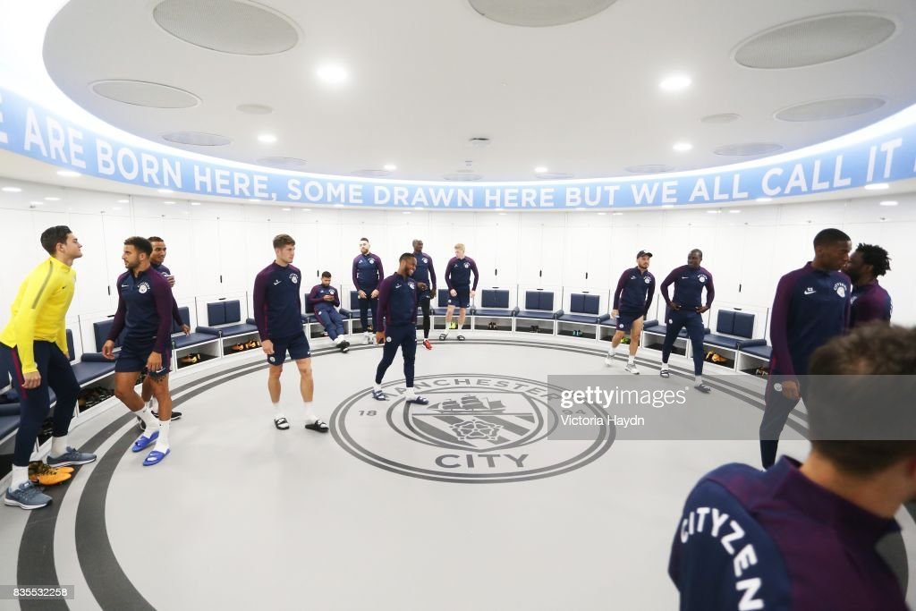 Manchester City's squad visit their newly renovated dressing room for the first time at Etihad Stadium on August 19, 2017 in Manchester, England.