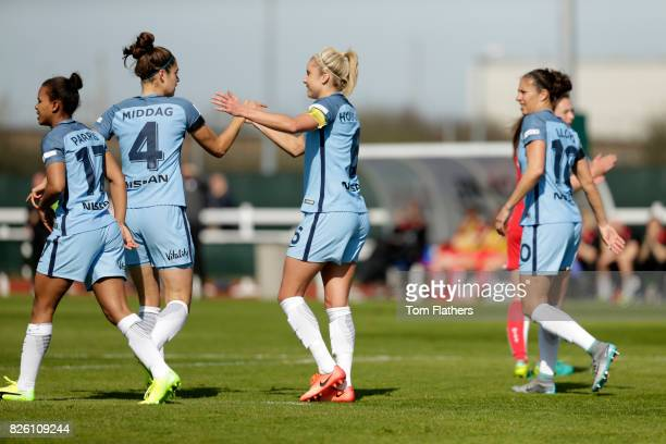 Manchester City's Steph Houghton celebrates scoring against Bristol City