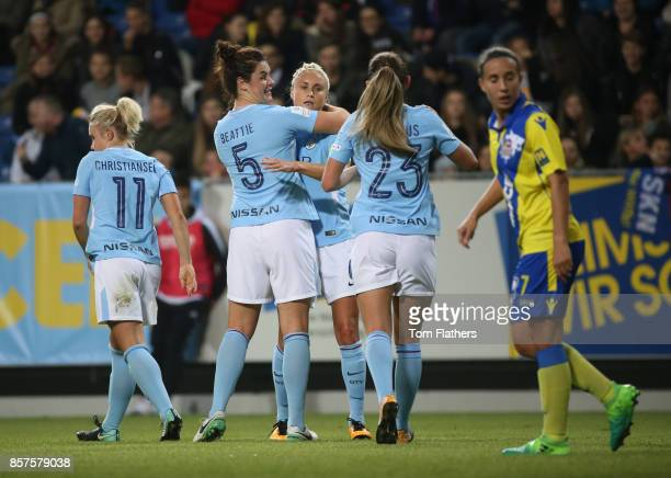 Manchester City's Steph Houghton celebrates scoring against St Polten on October 4 2017 in St Poelten Lower Austria