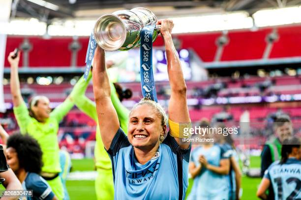 Manchester City's Steph Houghton celebrates winning the FA Cup