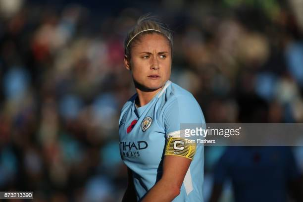 Manchester City's Steph Houghton in action during the FA WSL match between Manchester City Women and Bristol City Women at The Academy Stadium on...
