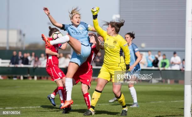 Manchester City's Steph Houghton scores against Bristol City