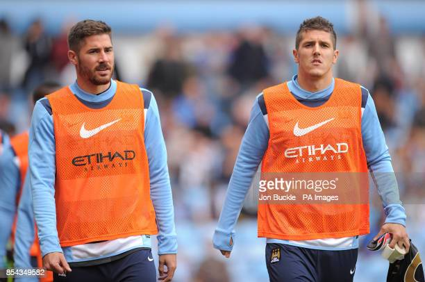 Manchester City's Stevan Jovetic and Francisco Javi Garcia during the warm up