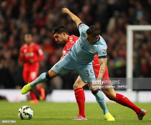 Manchester City's Stevan Jovetic and Liverpool's Emre Can