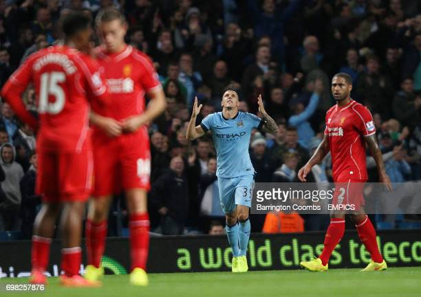 Manchester City's Stevan Jovetic celebrates scoring against Liverpool