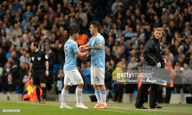 Manchester City's Stevan Jovetic comes off the substitutes bench to replace Sergio Aguero