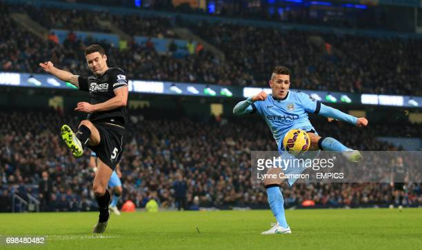 Manchester City's Stevan Jovetic has a shot on goal