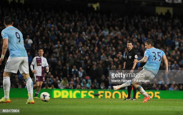 Manchester City's Stevan Jovetic scores his teams third goal of the game