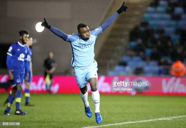 Manchester City's Thierry Ambrose celebrates scoring against Everton