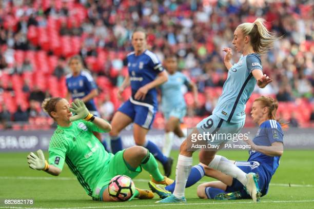 Manchester City's Toni Duggan and Birmingham City goalkeeper AnnKatrin Berger battle for the ball during the SSE Women's FA Cup Final at Wembley...