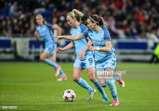 Manchester City's Toni Duggan and Kosovare Asllani in action against Olympique Lyonnais