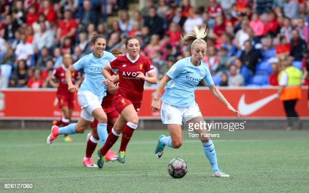 Manchester City's Toni Duggan in action against Liverpool