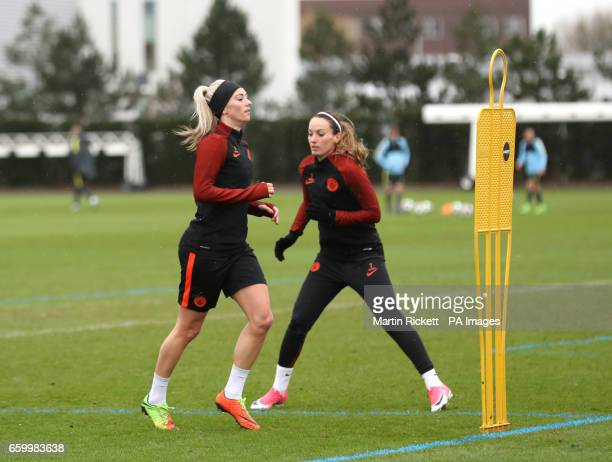 Manchester City's Tony Duggan and Kosovare Asllani during the training session at the City Football Academy Manchester