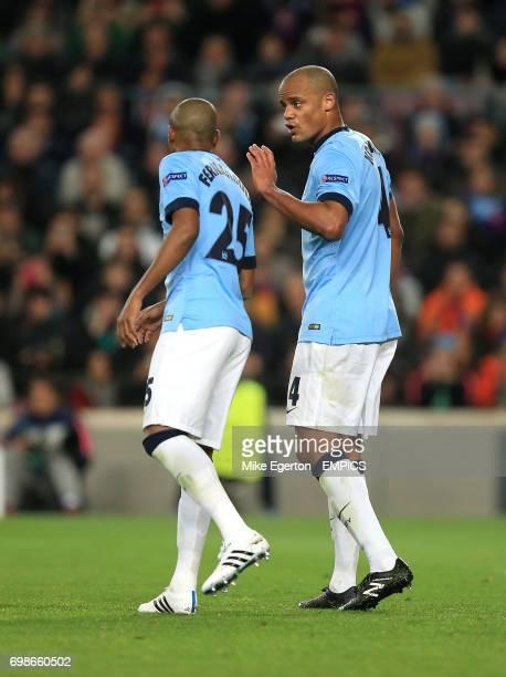 Manchester City's Vincent Kompany and Fernandinho