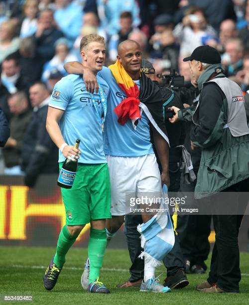 Manchester City's Vincent Kompany and Joe Hart after the game