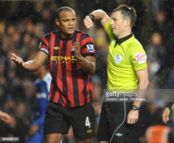 Manchester City's Vincent Kompany appeals to referee Mark Clattenburg after his side conceded a penalty during the Barclays Premier League match at...