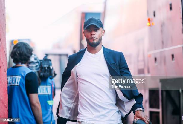 Manchester City's Vincent Kompany arrives at the Los Angeles Memorial Coliseum on July 26 2017 in Los Angeles California