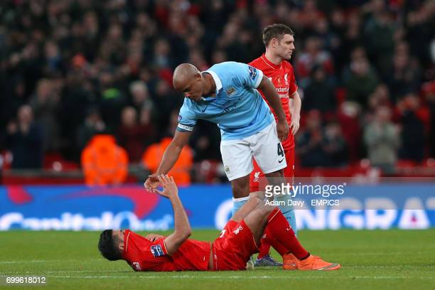 Manchester City's Vincent Kompany consoles Liverpool's Philippe Coutinho after the penalty shoot out