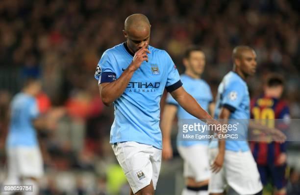 Manchester City's Vincent Kompany dejected