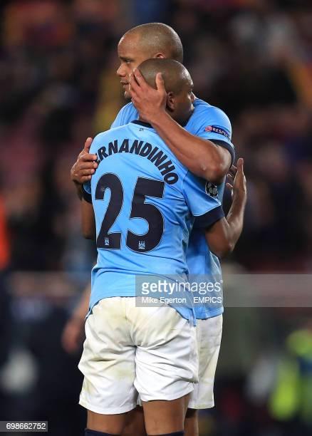Manchester City's Vincent Kompany embraces Fernandinho
