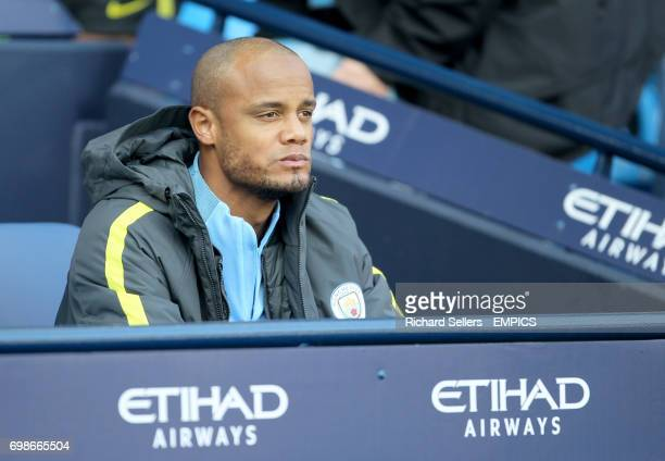 Manchester City's Vincent Kompany on the bench