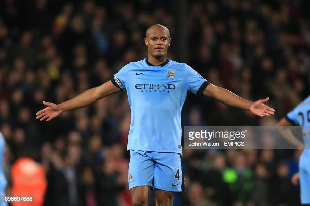 Manchester City's Vincent Kompany protests to referee Michael Oliver