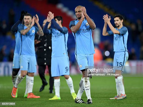 Manchester City's Vincent Kompany reacts after the final whistle during the Emirates FA Cup fourth round match at Selhurst Park London