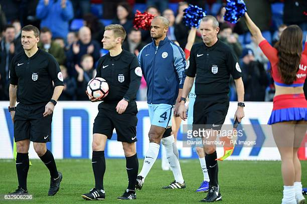 Manchester City's Vincent Kompany walks onto the pitch during the Emirates FA Cup fourth round match at Selhurst Park London