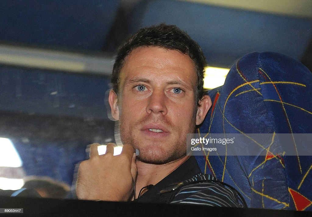 AFRICA - JULY 16, Manchester City's Wayne Bridge looks out from the coach during the Manchester City team arrival at O.R Tambo International Airport on July 16, 2009 in Johannesburg, South Africa.