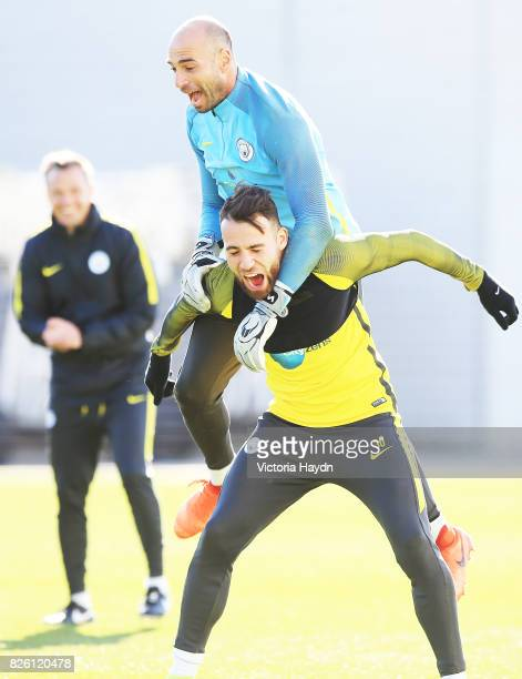 Manchester City's Willy Caballero and Nicholas Otamendi during training