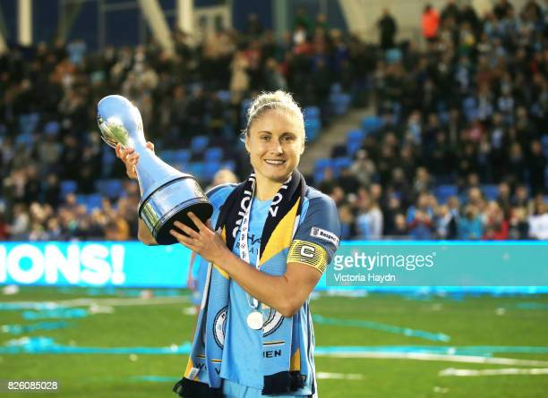 Manchester City's womens team are crowned champions Steph Houghton lifts the trophy