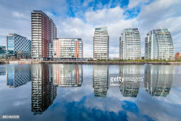 Manchester Cityscape Salford Quays Reflections UK