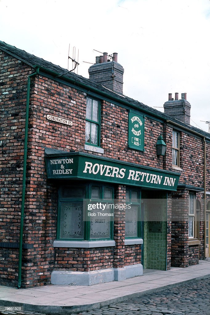Manchester, England, March 1985, A general view of The Rovers Return Inn which is one of the major landmarks in television series 'Coronation Street'