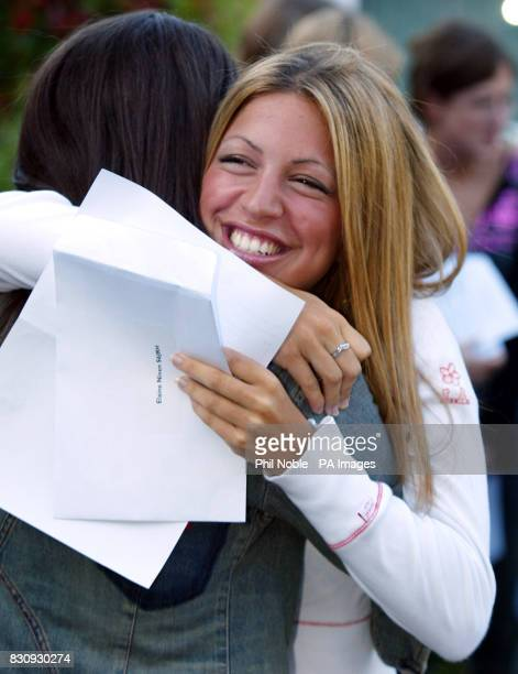 Manchester High School for girl's pupil Elaine Niven celebrates with a friend after achieving 3 A grade A levels * Headline statistics show the pass...