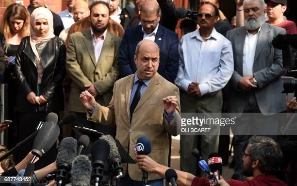 Manchester Islamic Centre and Didsbury Mosque Trustee Fawaz Al Haffar addresses members of the media outside of Didsbury Mosque in Didsbury...