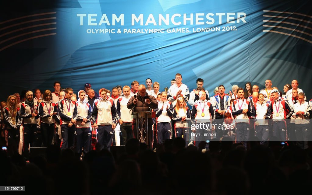 Manchester Olympian and Paralympian athletes gather on stage at a Team Manchester event at Albert Square on October 26, 2012 in Manchester, England.