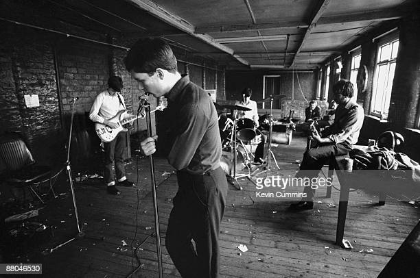 Manchester rock group Joy Division rehearsing at TJ Davidson's rehearsal room Little Peter Street Manchester 19th August 1979 Left to right guitarist...
