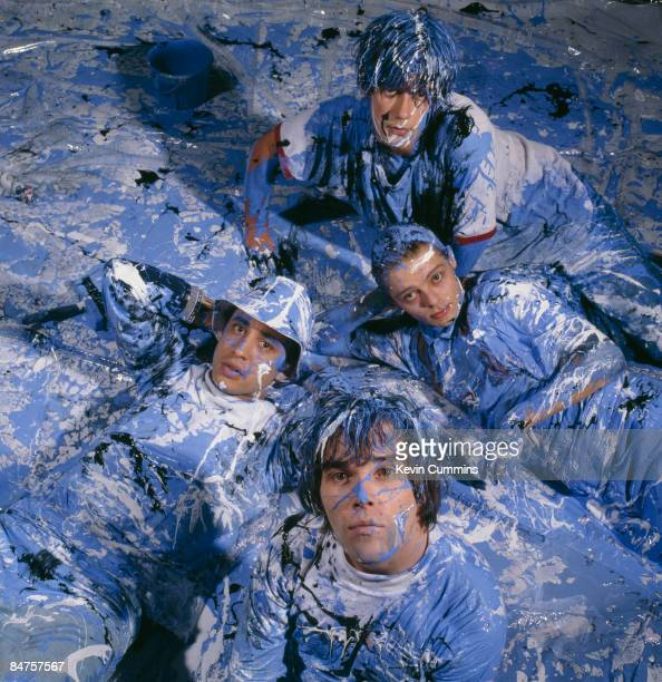 Manchester rock group The Stone Roses in a paintspattered abstract expressionist romp 5th November 1989 Clockwise from top guitarist John Squire...