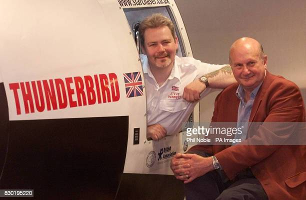 Manchester Rocket man Steve Bennett with legendary scifi writer and creator of 'Thunderbirds' Gerry Anderson and a prototype of his Thunderbird...