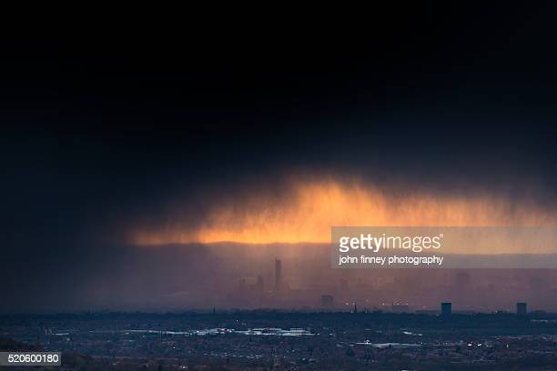 Manchester under a moody sky. North west England. UK. Europe.