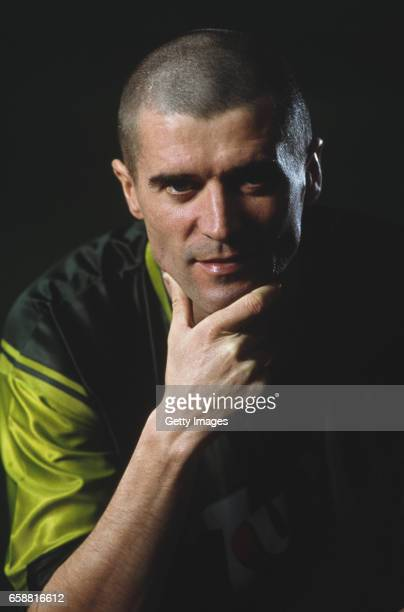 Manchester United and Republic of Ireland player Roy Keane pictured on a commercial shoot at The Cliff on February 18 2002 in Manchester England