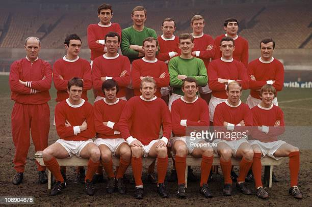 Manchester United at Old Trafford Manchester February 1967 Manchester United were League Division One champions season 19661967 Back row left to...