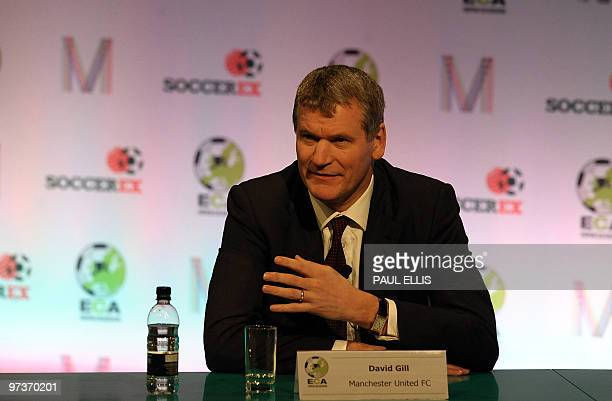 Manchester United chief executive David Gill attends a press conference following the European Clubs Association AGM at the Soccerex European Forum...