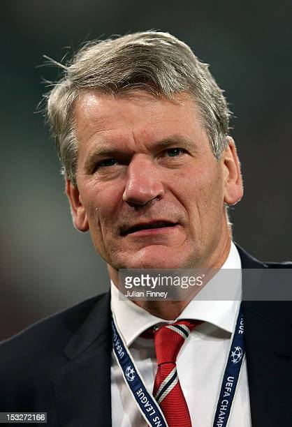 Manchester United Chief Executive David Gill looks on before the UEFA Champions League Group H match between CFR 1907 Cluj and Manchester United at...