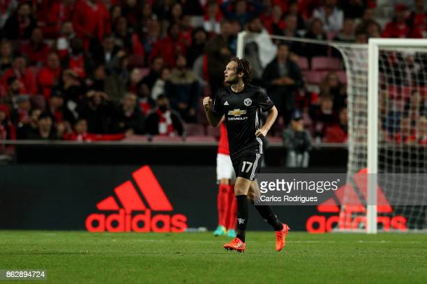 Manchester United defender Daley Blind from Netherlands celebrates Manchester United goal scored by Manchester United forward Marcus Rashford from...