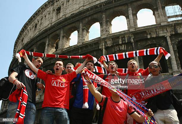 Manchester United fans gather at the Colosseum prior to the UEFA Champions League Final between Manchester United and Barcelona on May 27 2009 in...